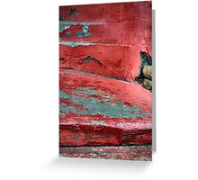 Red Stairs Curved Steps Painted Concrete Greeting Card