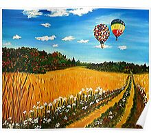 Up and Away, hot air balloons, fall landscape, painting, wall art, home decor Poster