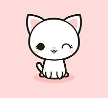 Kawaii white cat by peppermintpopuk