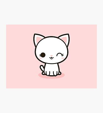 Kawaii white cat Photographic Print