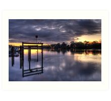 River sunrise. Art Print