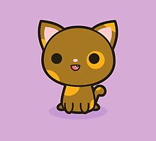 Kawaii brown and ginger cat by peppermintpopuk