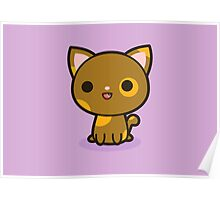 Kawaii brown and ginger cat Poster