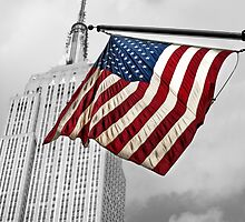 Old Glory with Empire State Building in Background by John Hall