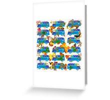 Butterflies and Surfer Vans Greeting Card