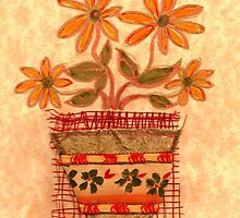 FOUR HAPPY ORANGE FLOWERS IN POT  by RubaiDesign