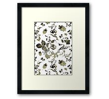 Inked Toile Wild Rose in Green Framed Print
