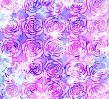 Pink, Purple, and Blue Floral Watercolor Pattern by Blkstrawberry