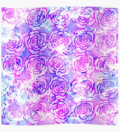 Pink, Purple, and Blue Floral Watercolor Pattern Poster