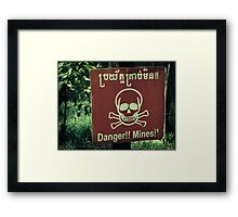 Danger Landmines Framed Print