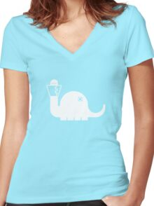 White Dinosore Women's Fitted V-Neck T-Shirt