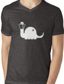 White Dinosore Mens V-Neck T-Shirt