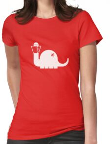 White Dinosore Womens Fitted T-Shirt