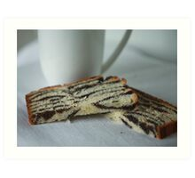 slices of cake with poppy seeds Art Print