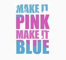 """Make It Pink! Make It Blue!"" (White) Womens Fitted T-Shirt"
