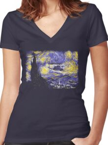 Starry Time Travel Women's Fitted V-Neck T-Shirt