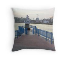 Statue of Hindu Goddess at the confluence of 2 Ganga canals in Roorkee Throw Pillow