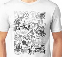 World City Travel Destination Passport Stamps Unisex T-Shirt