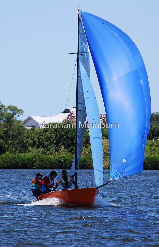 Orange Boat Blue Sail by Graham Mewburn