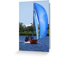 Orange Boat Blue Sail Greeting Card