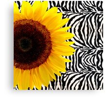 Bright Yellow Sunflower on Zebra Print Stripes Canvas Print