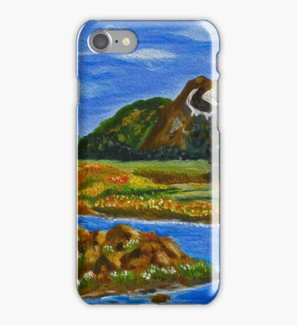 The Valley, impressionism mountain lake, wall art, home decor iPhone Case/Skin