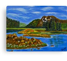 The Valley, impressionism mountain lake, wall art, home decor Canvas Print