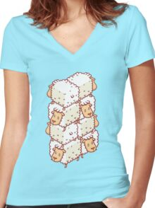 Sheep Wall Women's Fitted V-Neck T-Shirt
