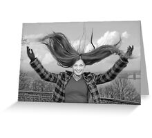 Girl with fly-away long hair Greeting Card