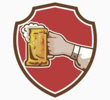 Hand Holding Mug Beer Crest Retro by patrimonio