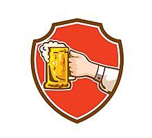 Hand Holding Mug Beer Crest Retro Photographic Print