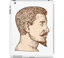Male Goatee Side View Etching iPad Case/Skin