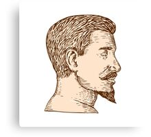 Male Goatee Side View Etching Canvas Print