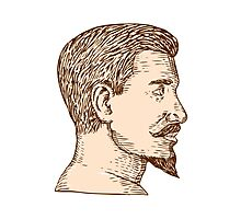 Male Goatee Side View Etching Photographic Print