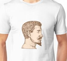 Male Goatee Side View Etching Unisex T-Shirt