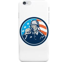 World War Two Soldier American Grenade Circle Woodcut iPhone Case/Skin