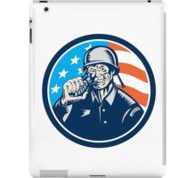 World War Two Soldier American Grenade Circle Woodcut iPad Case/Skin