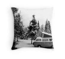 VW Bus Camping In Wyoming Throw Pillow