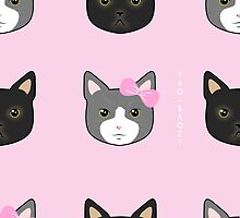 Pink and Black Cats by Tao-Baozi