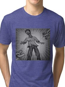 Graphic Novel Image - Consumer breaks the chains of... Tri-blend T-Shirt