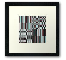 Hip Retro Geometric Abstract Piano Key Bars and Blocks Rectangle Shapes Tiled Pattern Puce and Robin's Egg Blue Framed Print