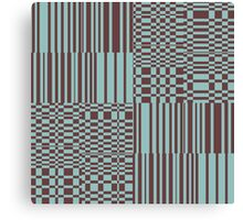 Hip Retro Geometric Abstract Piano Key Bars and Blocks Rectangle Shapes Tiled Pattern Puce and Robin's Egg Blue Canvas Print
