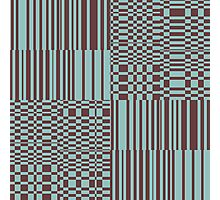 Hip Retro Geometric Abstract Piano Key Bars and Blocks Rectangle Shapes Tiled Pattern Puce and Robin's Egg Blue Photographic Print