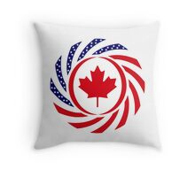 Canadian American Multinational Patriot Flag Series 1.0 Throw Pillow