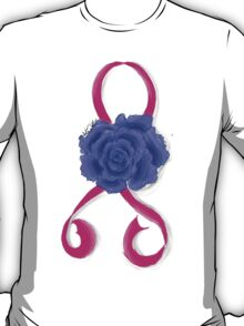 Breast Cancer Awareness Ribbon and Rose T-Shirt