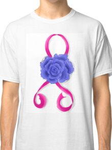 Breast Cancer Awareness Ribbon and Rose Classic T-Shirt