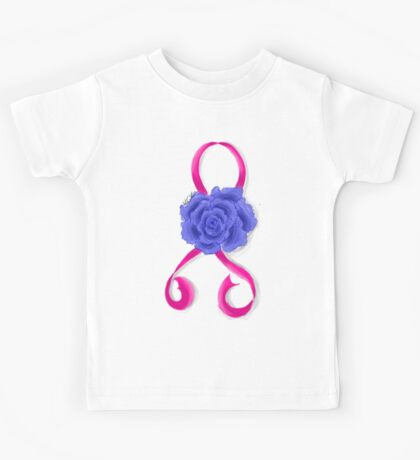 Breast Cancer Awareness Ribbon and Rose Kids Tee
