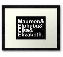 Idina Menzel Character List (White Text) Framed Print
