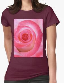 Pink White Rose Womens Fitted T-Shirt
