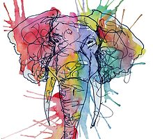 Colorful Watercolor and Ink Elephant by SoderblomArt
